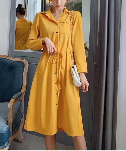 Осенние женские повседневные платья с длинным рукавом, Имперское платье с отложным воротником и пуговицами, белое платье с высокой талией н