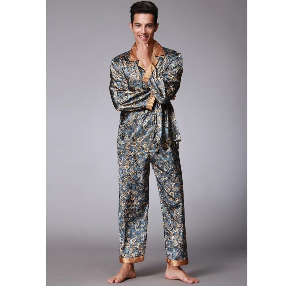 Navyblue New Men's Twinset Pajamas Sets Satin Silk Turn-down Collar Long Sleeve Pyjama Suits Casual Sleepwear Loose Home Wear