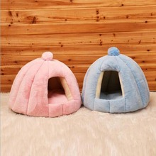 Soft Warm Pet Cat Cave House Foldable Tent Dog Bed Mongolian Yurts Cute Kennel Nest Small Animals Puppy With Mat