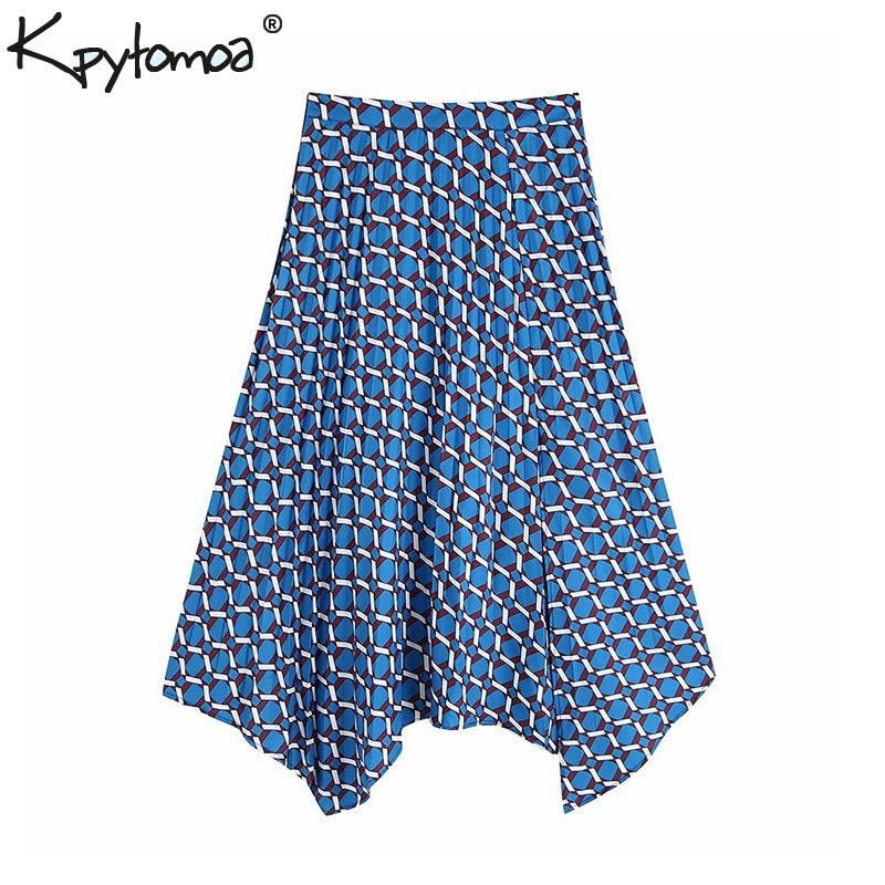 Vintage Stylish Office Wear Print Irregular Midi Skirt Women 2019 Fashion Side Zipper Slit Pleated Skirts Casual Faldas Mujer