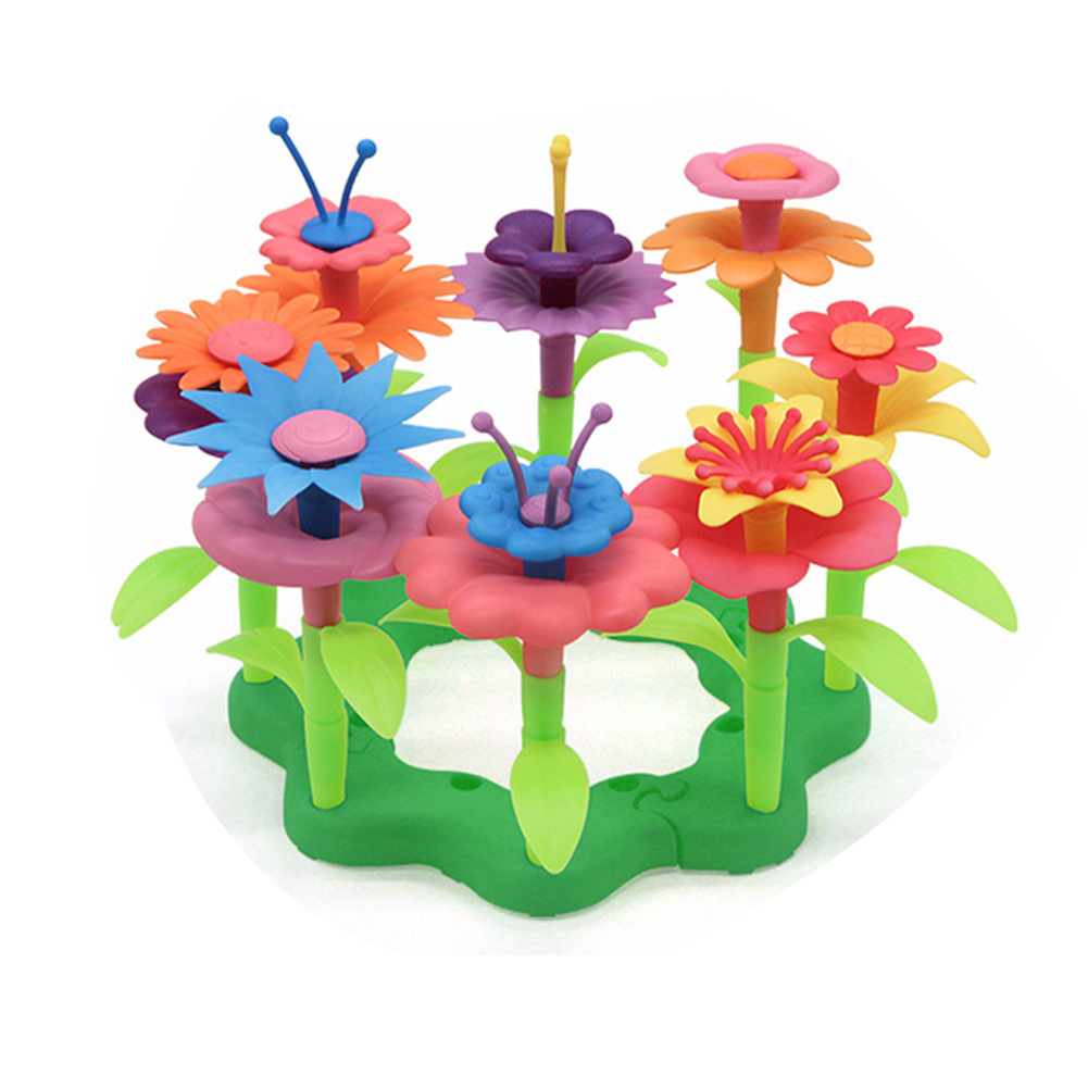 46pcs Assemble Toy Learning Educational Growing Bouquet Garden Playset DIY Craft Fun Toddler Flower Arrangement For Kids