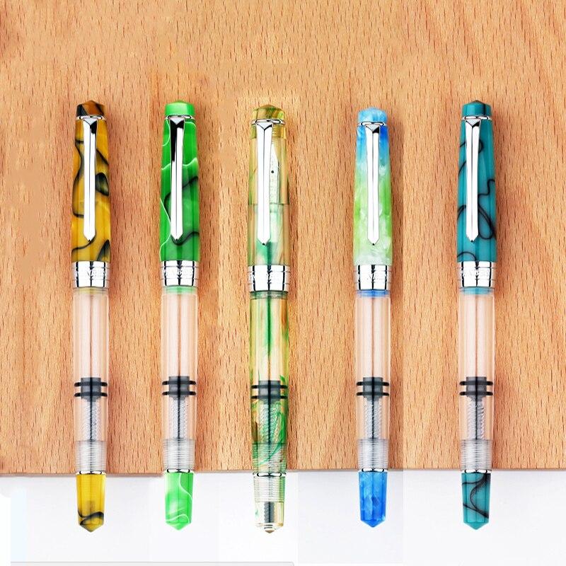 NIEUW! Moonman Penbbs 309 Zuiger Vulpen Transparant Acryl Hars Grote capaciteit F 0.5mm Zakelijk Schrijven Inkt Pen met doos op AliExpress - 11.11_Dubbel 11Vrijgezellendag 1