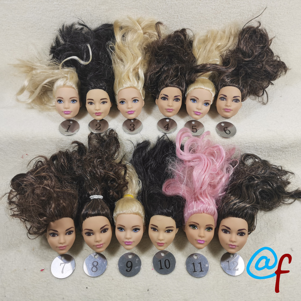B111-2 Original Foreign Trade South Asia Calm Beauty 1/6 OOAK NUDE Rarely Doll Head Mussed Dark Brown Hair For DIY 90% NEW