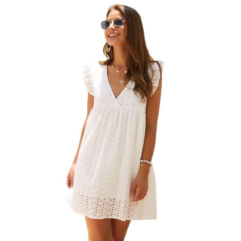 SKTSUUC Casual Lace White Dress Boho V-neck Sleeveless Knee Loose Cotton Hook Flower Hollow Women Summer Dress Yellow Blue(China)