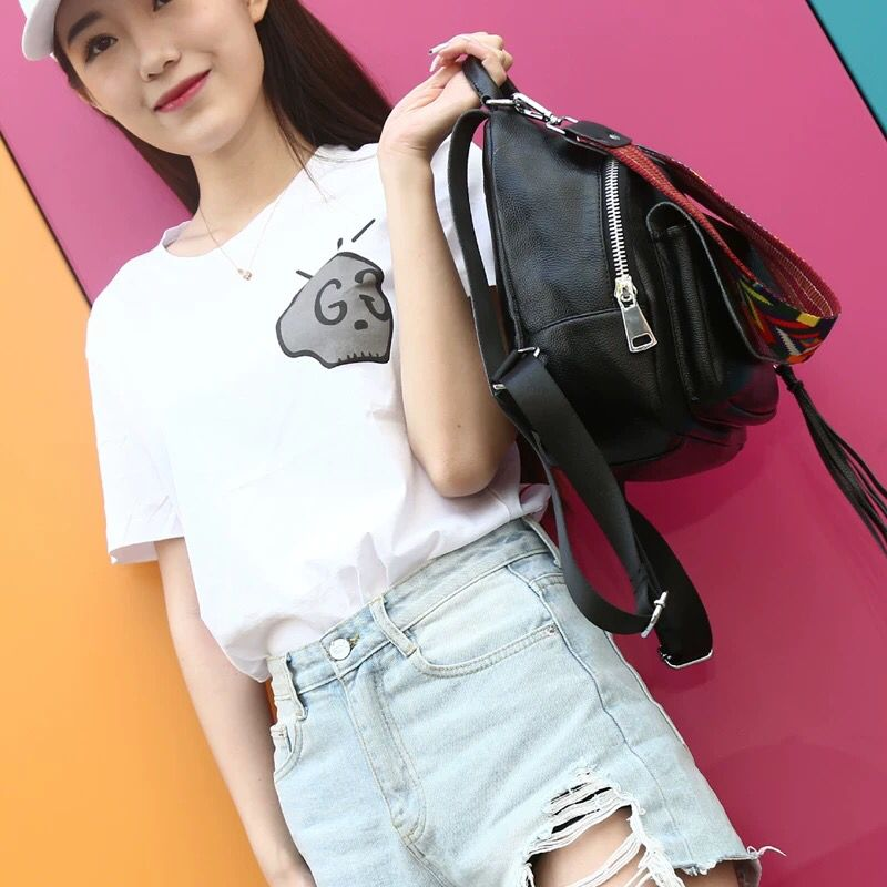 Small Fashion Backpack Women Backpacks Female School Bags For Teenagers Girls Travel Bag Candy Color Rucksack Black 22x25x11CM