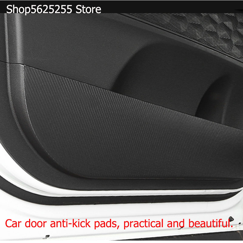 Car Door Anti-kick Pads Interior Car Decoration Leather Anti-dirty For <font><b>Hyundai</b></font> <font><b>Santa</b></font> <font><b>Fe</b></font> 2019 2020 Car <font><b>Accessories</b></font> image