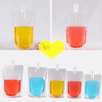 100 Pack, Stand-up Plastic Drink Packaging Bag Spout Pouch for Beverage Liquid Juice Milk Coffee