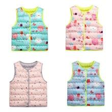 Куртки для детей ясельного возраста; теплое зимнее пальто без рукавов с рисунком для маленьких девочек и мальчиков; топы; теплый жилет; одежда для детей; верхняя одежда