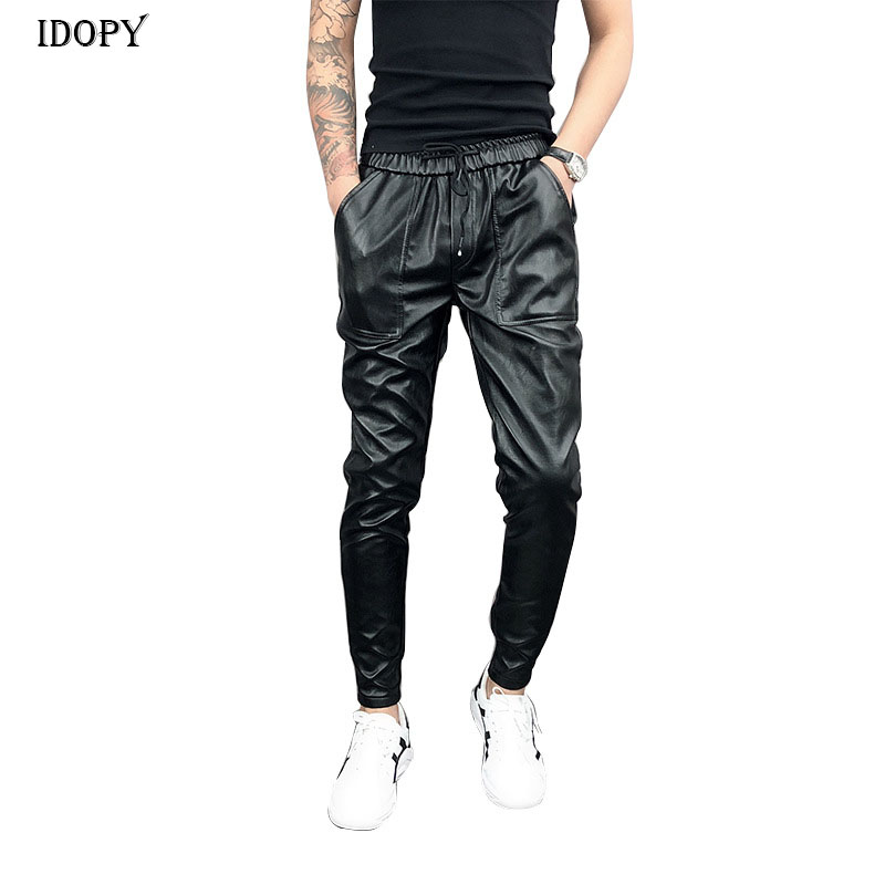 Idopy New Arrival Autumn Winter Mens Korean Hip Hop Faux Leather Harem Pants Drawstring Elastic Waist PU Leather Joggers
