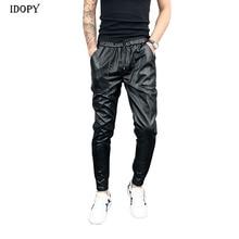 Idopy New Arrival Autumn Winter Mens Korean Hip Hop Faux Leather Harem Pants Drawstring Elastic Waist PU Leather Joggers