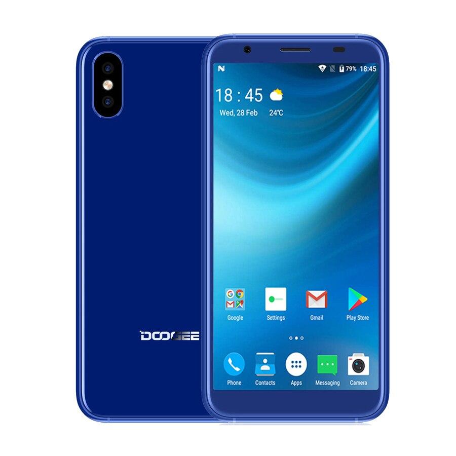 DOOGEE X55 Android 7.0 5.5'' 18:9 Mobile Phone MT6580 1GB RAM 16GB ROM 2800mAh Fringerprint Dual Cameras 8MP+5MP OTA Smar