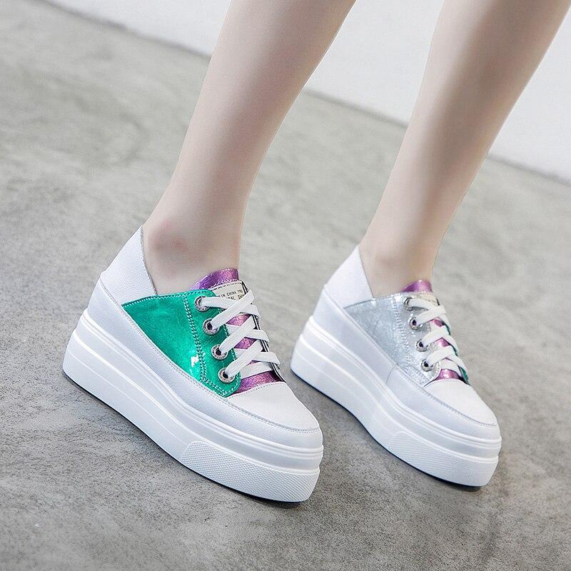 Élégant couleur correspondant en cuir femmes chaussures De marche hauteur plate-forme mode baskets légères marque Zapatos De Mujer M4-81