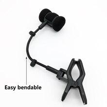 Flet mikrofon wsporniki Mic klip na flet obój Piccolo Hulusi erhu Xiao bęben Instrument muzyczny do montażu w stojaku Shell tylko bez kabla