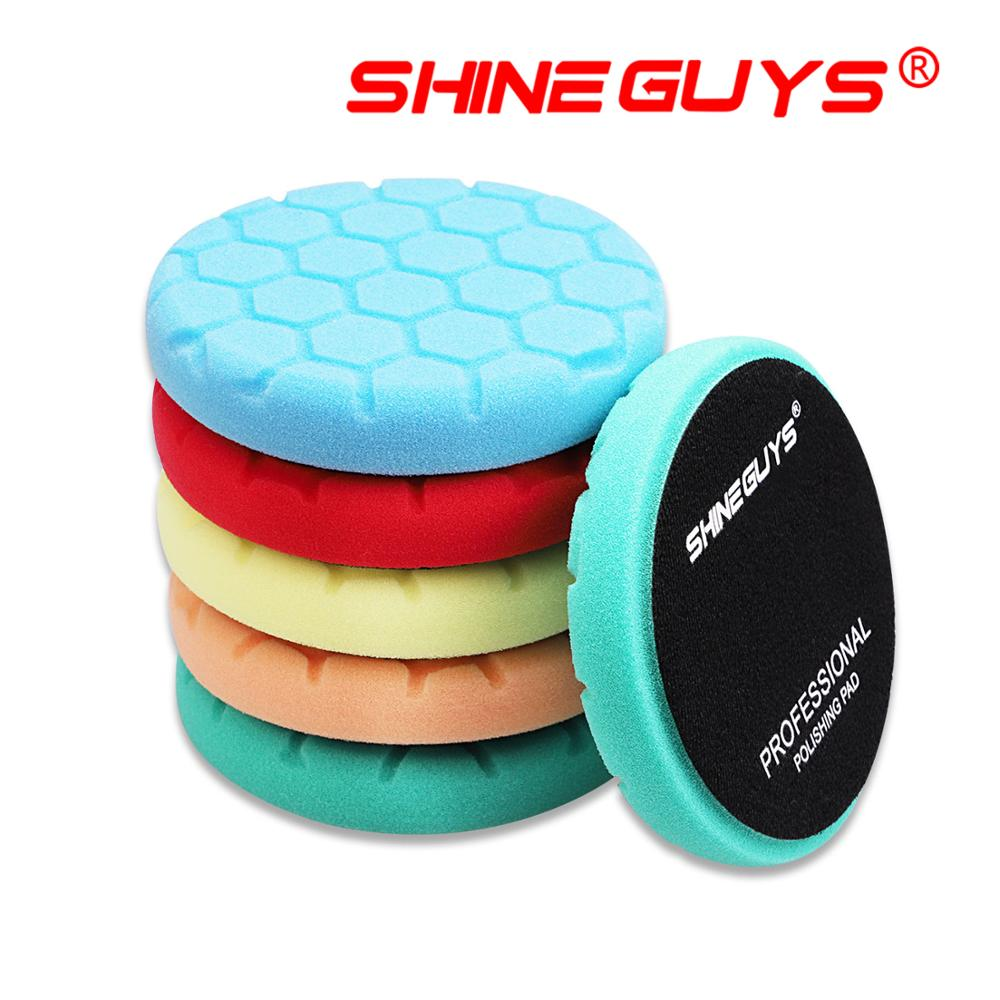 (Vendas a granel 1) brilhar caras 5.5 Polegada (135mm) hex-lógica corte almofada de polimento & almofadas de polimento para 5