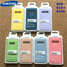 Samsung silikonowy pokrowiec miękki płynny silikonowy biuro oryginalny styl etui do Galaxy S10 + S10E S10 S20 Plus Ultra z Retail Box