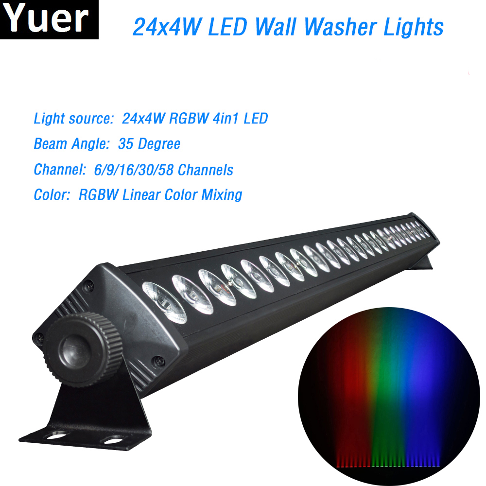 24x4W LED RGBW 4IN1 Led Wall Wash Light DMX Led Bar DMX Line Bar Wash Stage Light Party Wedding Events Lighting Fast Shipping