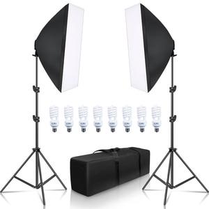 Image 2 - SH ערכת תאורת Softbox 50x70cm צילום רציף אור תיבה לצילום סטודיו עם 8PCS E27 שקע תאורת נורות
