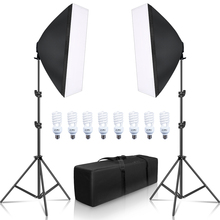 SH Softbox Lighting Kit 50x70cm Photography Continuous light box Softbox For Photo Studio With 8PCS E27 Socket Lighting Bulbs