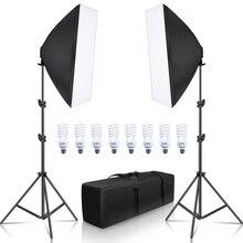 Sh Softbox Verlichting Kit 50X70Cm Fotografie Continue Licht Box Voor Foto Studio Met 8Pcs E27 Socket verlichting Lampen