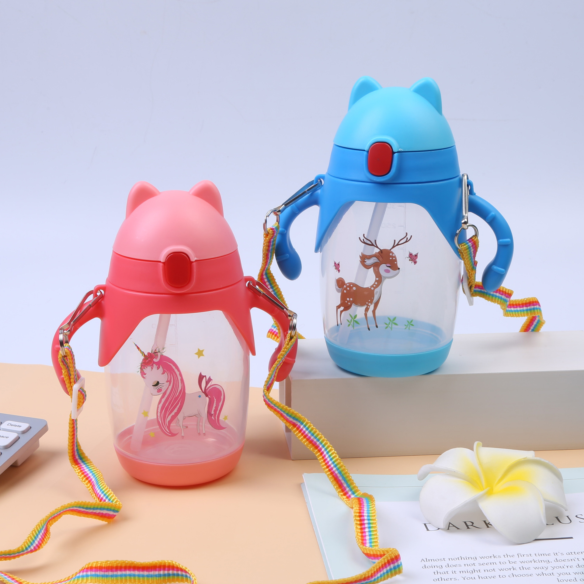 Yin Qian Pp Children Cup With Straw 400 Ml Handle Suspender Strap Dual Purpose Cartoon Cup With Straw With Measuring Portable Le