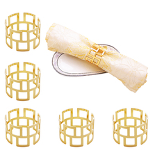 TAI Top 6pcs Alloy Square Hollow Napkin Rings Dinner Gold Silver ColorNapkin Holder Towel Serviette Buckle Table Decoration tai top 1 pc flower napkin rings gold silver crystal napkin holders napkin buckle for wedding dinner party table decoration