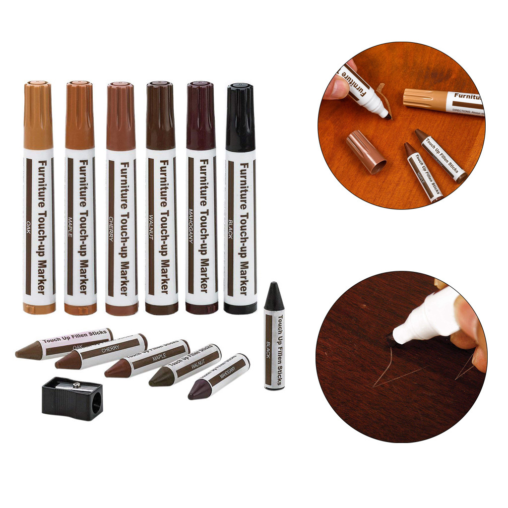 12Pc Wood Furniture Repair Pen Marker Pen Wax Scratch Filler Remover Repair Fix Home Decoration Accessories Tool