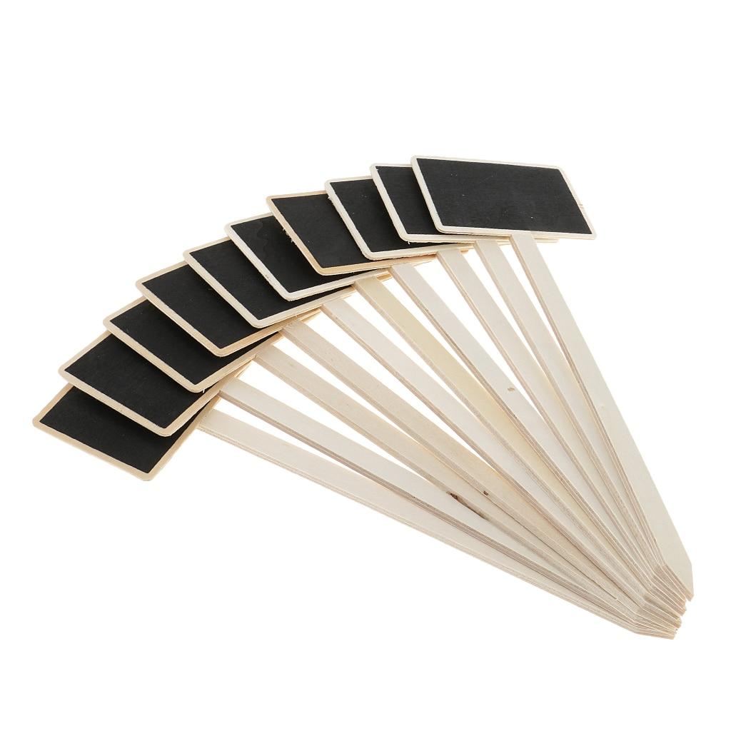 10 Uds Mini pizarra de madera para Pizarra de etiquetas de plantas/Mini Etiqueta de comida/señales decorativas para fiestas de bodas en casa