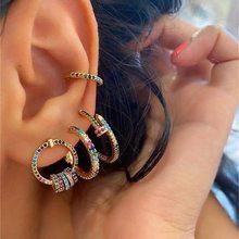 Yobest moda cruz falso piercing brincos para mulheres orelha manguito jóias menina clipe earcuff micro pave cz brincos de cristal
