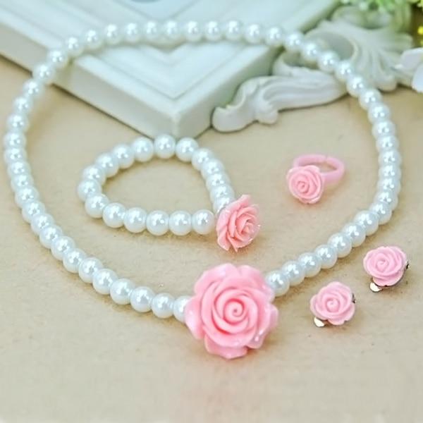 Kids Girls Child Pearl Flower Shape Necklace Bracelet Ring Ear Clips Jewelry Set