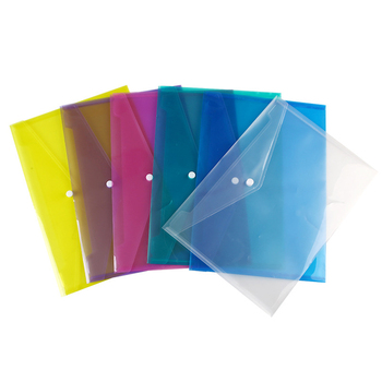 1pcs A4 Clear Document Bag Paper File Folder Stationery School Office Case PP 6 Colors with Snap Filing Products 1