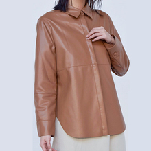 Three color 2019 new Women casual leather coat shirt jacket ladies outwear top female clothes
