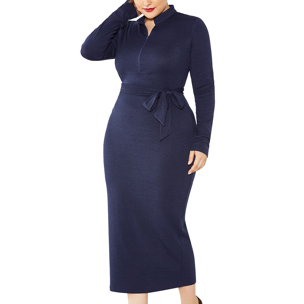Winter Maternity Dress Plus Size Dress Plus Size Solid Long Sleeve Zipper Knited Dress Women Ropa Mujer Vestidos De Festa Robe