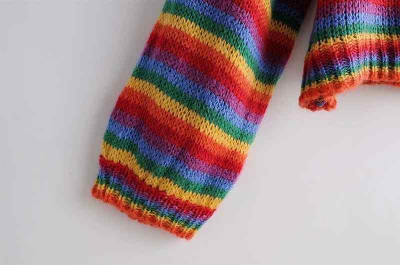 Flectit 하라주쿠 레인보우 스트라이프 스웨터 자른 오버 사이즈 크루 넥 긴 소매 아늑한 니트 풀오버 스웨터 여성 가을 겨울 *