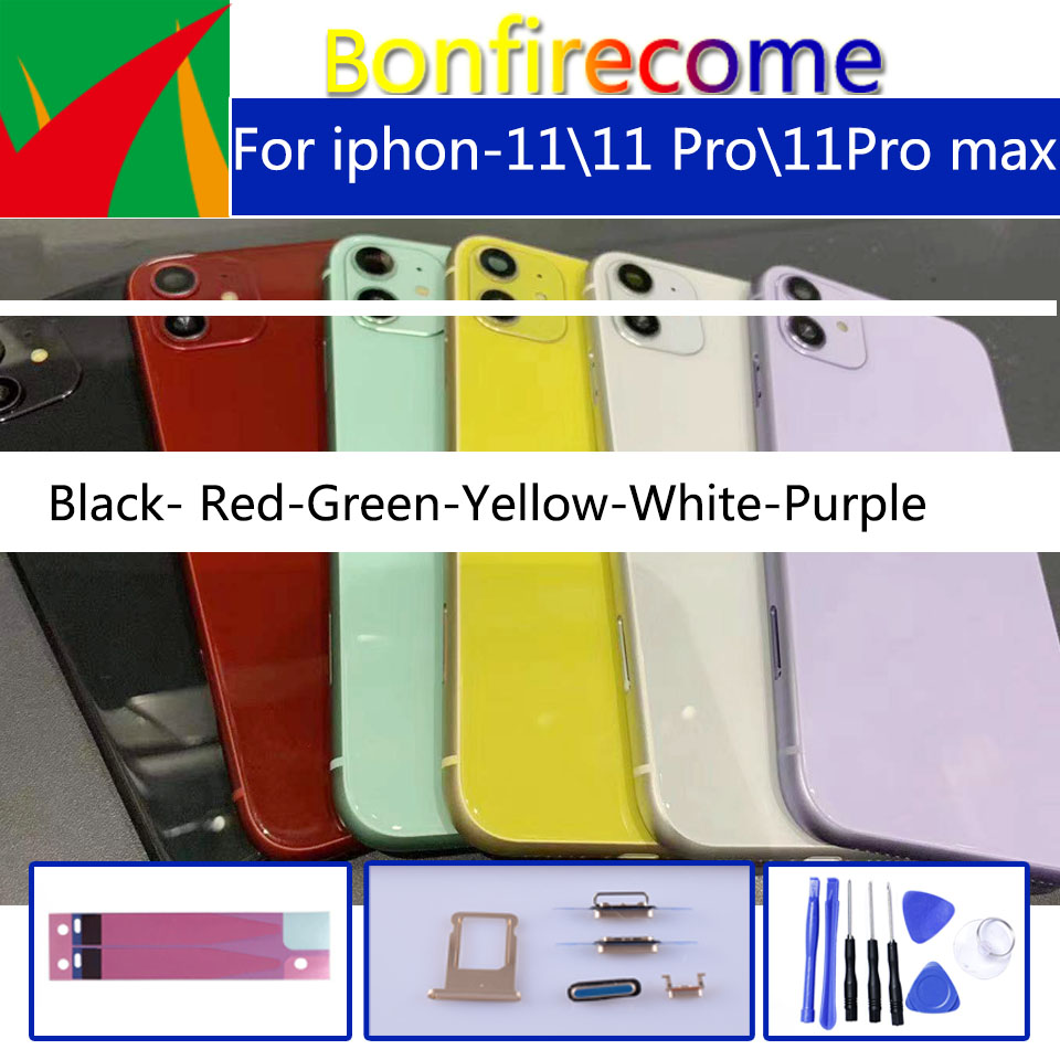 Original For Iphone-11 11 Pro 11Pro Max  Back Middle Frame Chassis Black Housing Battery Cover For Iphone11 Coque Housing