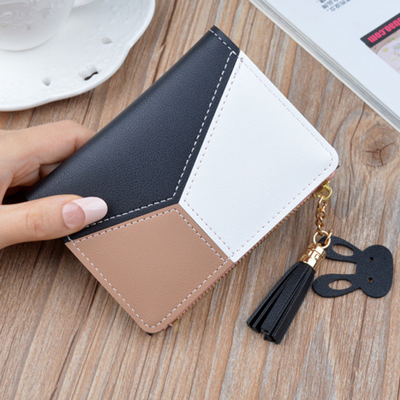 2019 Hot Sale  Leather Wallet Short Women Wallets Zipper Purse Patchwork Fashion Panelled Wallets Trendy Coin Purse Card Holder