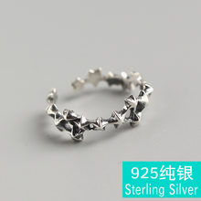 Korea version of S925 pure silver stars pentagram punk wind restoring ancient ways Thai silver ring opening joints(China)