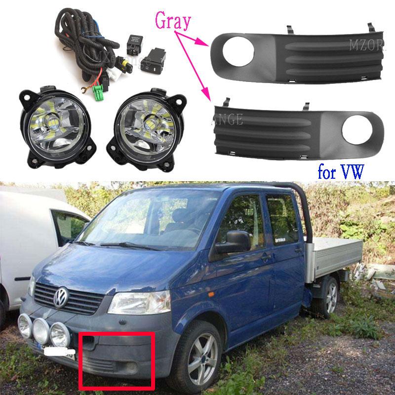Туман светильник s для VW Transporter T5 Multivan Caravelle 2003-2010 светодиодный противотуманный светильник серый колпак противотуманных фар гриль проводки в...