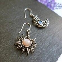 Huitan Sun and Moon Asymmetrical Earrings Women Personality Unusual Dangle Earrings Party Female Statement Jewelry Drop Shipping