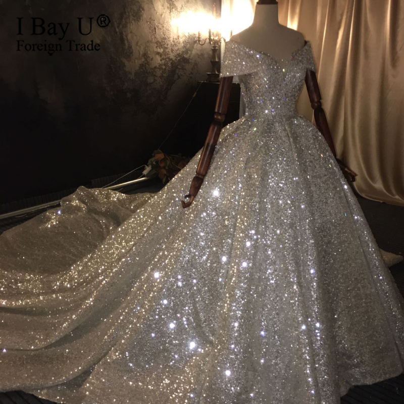 100% Real Work 2020 Dubai Princess Luxury Bridal Wedding Dress Full Beading Off Shoulder Stunning Wedding Gowns Sequined Ruffle