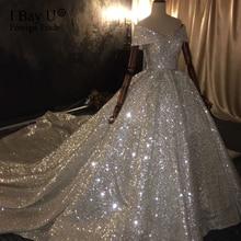 Năm 100% Thực Sự Làm Việc 2020 Dubai Công Chúa Sang Trọng Váy Cưới Cô Dâu Full Chiếu Trúc Hạt Lệch Vai Bắt Mắt Áo Cưới Sequin Ren
