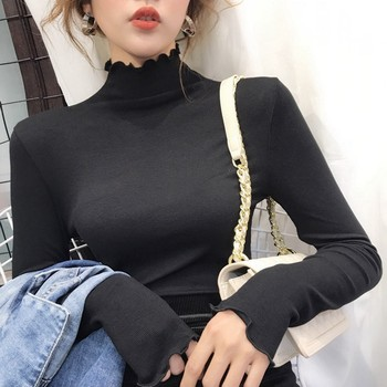 Spring Autumn T Shirt Women Casual Solid Color Slim Basic T shirts Turtleneck Long Sleeve Bottoming Tops White Black 2017 fashion solid full sleeve t shirt female spring autumn slim thin casual long tops turn down collar women sexy t shirts girl