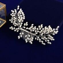 A Mano A Mano piena Spose Perle Dacqua Dolce Dei Capelli Pettini Hairbands Accessorio Dei Capelli di Nozze