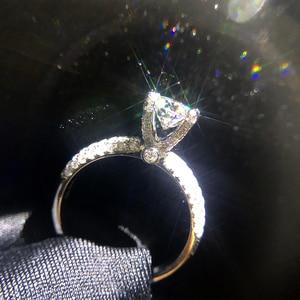 Image 5 - מוצק 18K זהב לבן AU750 3ct עגול לחתוך DF Moissanite אירוסין טבעות יום נישואים טבעת Moissanite טבעת לנשים