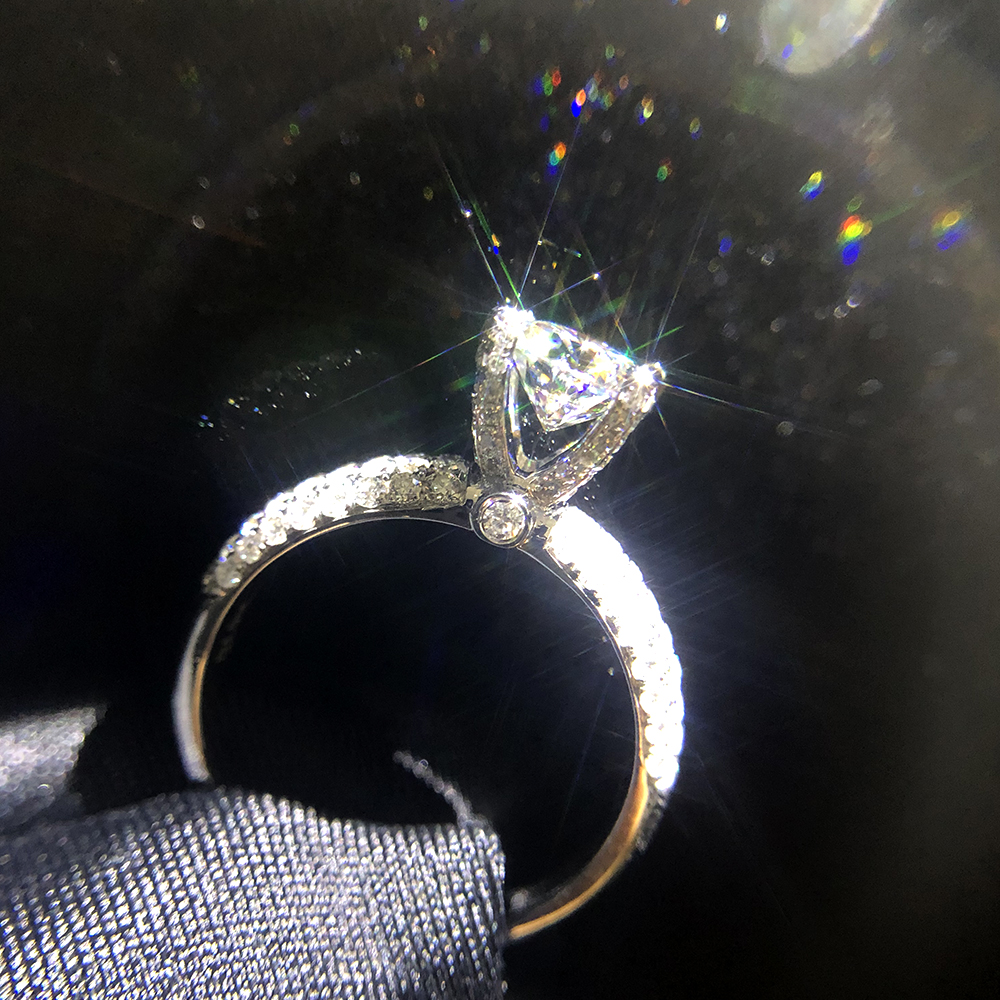 Image 5 - Solid 18K White Gold AU750 3ct  Round Cut DF Moissanite Engagement Rings Anniversary Ring Moissanite Ring For Women-in Rings from Jewelry & Accessories