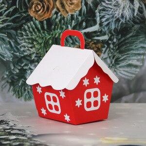 10 шт рождественские конфеты коробки сумки Санта Клаус Подарочная коробка DIY упаковка печенья мешок Счастливого Рождества партии украшения ...