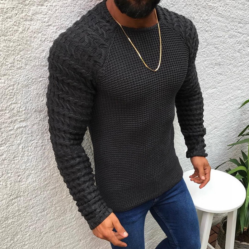 SHUJIN Spring Men Casual Neck Pullover Sweaters Autumn Winter Casual Slim Fit Long Sleeve Cable Knitwear Sweater Pullover