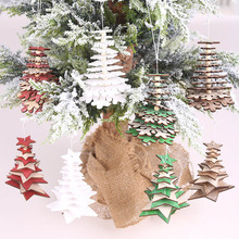 1pc New Christmas Decoration Wooden Star Snowflake With Bell Pendants Xmas Tree Ornament Hanging Gifts