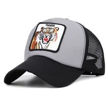 Tiger Baseball Cap Men Women Animal Trucker Cap Summer Mesh Hat 3 Colors Choose 2019 stranger things 3 dustin hat new retro mesh trucker cap camp know where