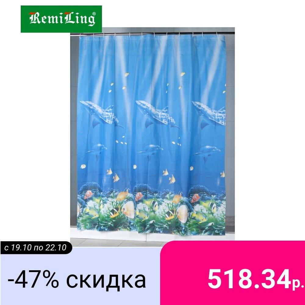 Штора для ванной Aquarius, Дельфины, 180*200 см, синий|Шторы для душа|   | АлиЭкспресс
