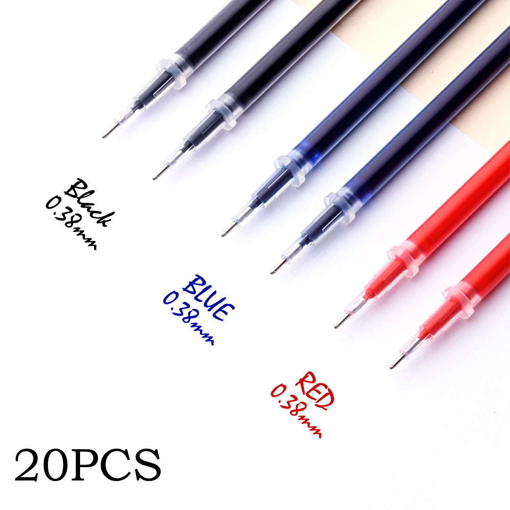 0.38mm 20pcs/bag Gel Pen Refill Office Signature Rods Red Blue Black Ink Refill Office School Stationery Writing Supplies